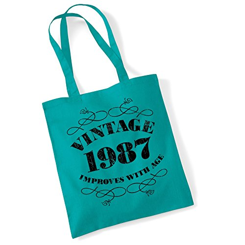 Tote Bags For Women Vintage improves with age 1987 Printed Cotton Shopper Bag Gifts Emrld