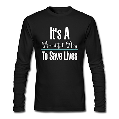 QinXi Men's IT'S A BEAUTIFUL DAY TO SAVE LIVES Long Sleeve Funny T Shirt ()