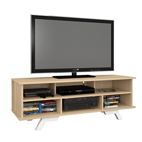 Beaumont 6-Shelf 54-inch TV Stand - Natural (Maple Audio Tower)