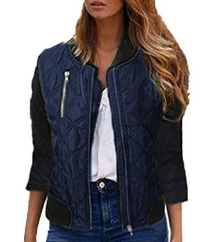 2018 Donna Autunno e inverno Casual Camicie Ragazze Coat Giacca Parka Pilota Manica Lunga Zip Giacche e Cappotti Cappotto Blu