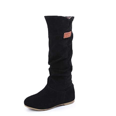 de52857cdbb Amazon.com  Winter Women Boots Over Knee Boots Faux Fur Flock Slim ...