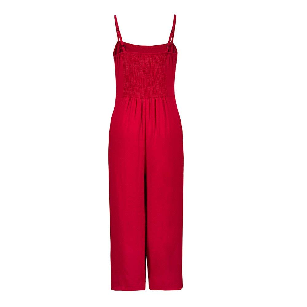 Ladies Fashion Elegant Jumpsuit Women Jumpsuits Elegant Wide Leg Sleeveless High Waisted Summer Pants Red M by GWshop (Image #3)