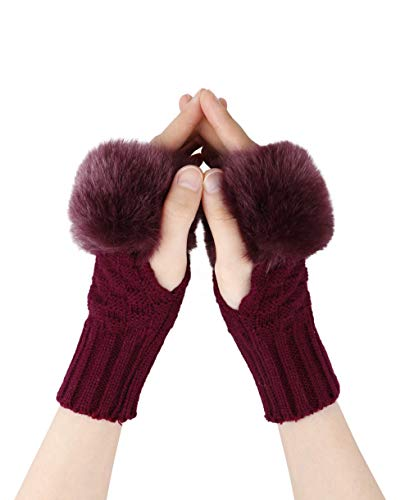 Verabella Womens Faux Fur Cable Knit Hand Warmers Fingerless Mittens Thumb Hole Gloves