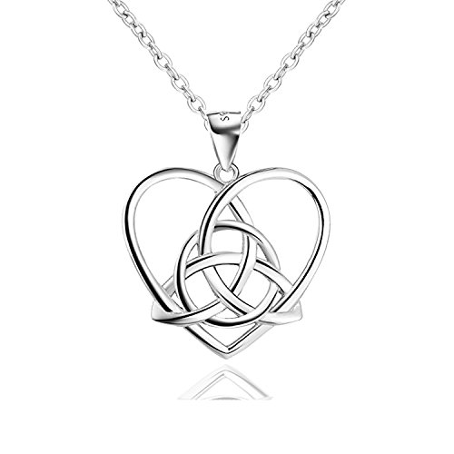 Qianli Ladies Sterling Silver Good Luck Irish Celtic Knot with Love Heart Pendant Necklace 18