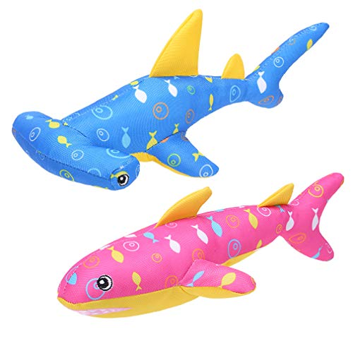 Dog Water Floating Toys – 2 Packs Cute Shark Dog Squeaky Toy for Summer Swimming Pool, Durable Pet Toy for Boredom and Training