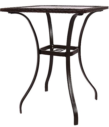 K&A Company Outdoor Dining Patio Square Table Glass Steel Vintage Chippendale Furniture Regency Great Condition Rattan Square Table