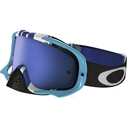 Oakley Crowbar MX Pinned Race Men's Dirt Off-Road Motorcycle Goggles Eyewear - Blue/White/Black Ice Iridium + Clear / One Size Fits All