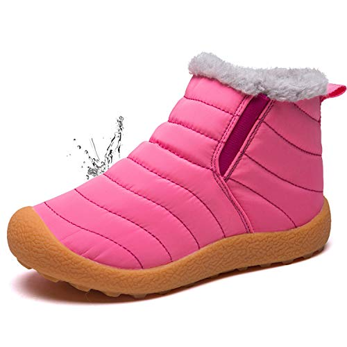 LINGTOM Kid's Waterproof Winter Boots Snow Sneakers Boots Lace up Shoes with Fur Lining, Pink 12