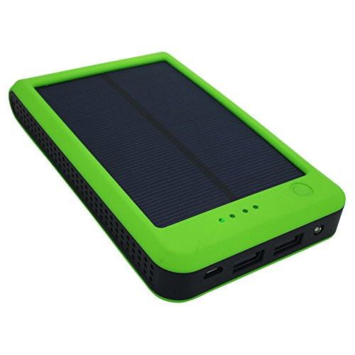 Solar Power Bank 15000mAh Portable Dual USB Solar Charger External Battery Pack with LED Flashlight Backup Phone Adapter Charger for Bluetooth, iPhone, HTC, Nexus, Camera, Tablet - Green
