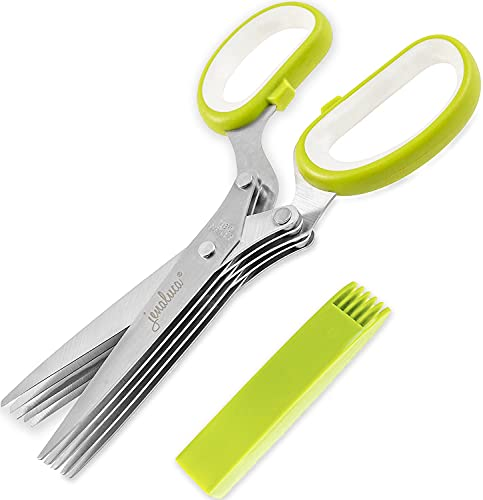 Jenaluca Herb Scissors with 5 Blades and Cover - Cool Kitchen Gadgets - Cutter, Chopper and Mincer - Sharp Heavy Duty Shears