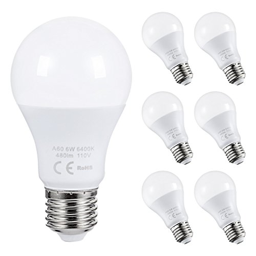 AED Lighting 6 Pack Daylight LED Bulbs A19 LED Light Bulbs 60W Equivalent Medium Edison Screw Base E26 Bulb Non-Dimmable 6W 480lm 6400K for Home Ceiling Fan, Office, Living Room