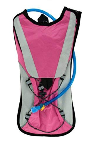Kole Import Hydration Backpack 2L Bladder with Flexible Drinking Tube, Lightweight for Running, Hiking, Cycling, Hunting, Fishing, Survival (Pink) by Kole Import