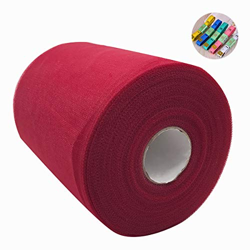 - Saim Tulle Rolls 6 Inch x 100 Yards (300 Feet) Tulle Fabric Roll Spool with Body Measuring Ruler for Lace Table Runner Chair Sash DIY Wedding Party Shower Gift Ribbon Decoration (Wine Red)