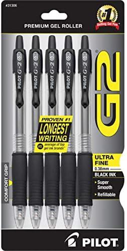 PILOT G2 Premium Refillable /& Retractable Rolling Ball Gel Pens 31299 5-Pack - 1 Pack Fine Point Blue Ink