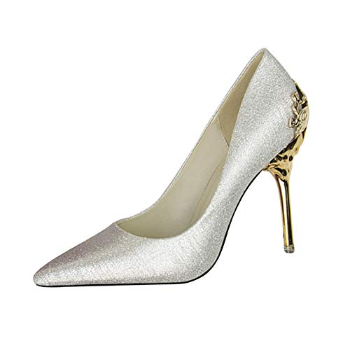 Haut Mode simples Argent Chaussures Stiletto talons Pompes soirée Tenthree Chaussures de daim femmes pointu élégant Escarpins en pour à Mariage TFqTzR