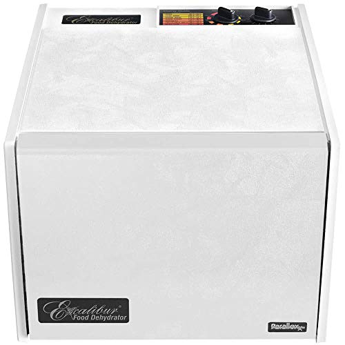 - Excalibur 3926TW 9-Tray Electric Food Dehydrator with Temperature Settings and 26-hour Timer Automatic Shut Off for Faster and Efficient Drying Includes Guide to Dehydration Made in USA, 9-Tray,White