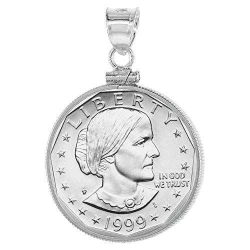 Sterling Silver Susan B  Anthony Bezel Sacagawea Screw Top Coin Edge 26 mm  Coins 1979-Present
