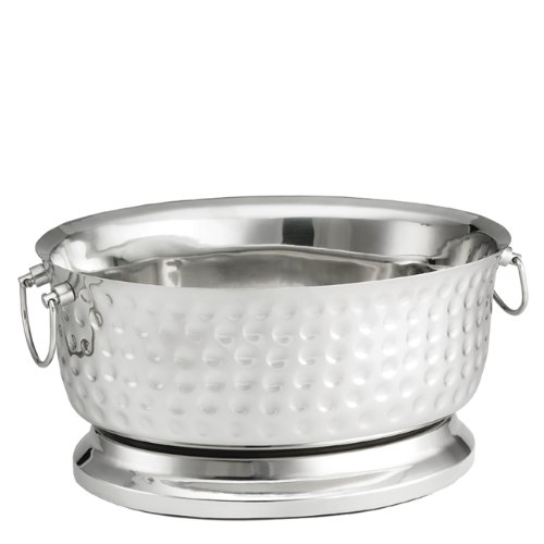 Tablecraft Bali Beverage Tub, Oval Design, Stainless Steel, 18-Inch by 15-1/4-Inch by Tablecraft