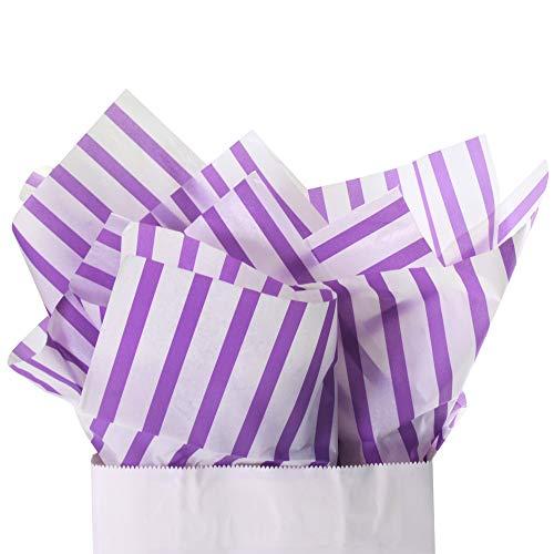 - UNIQOOO 60 Sheets Premium Purple and White Stripe Tissue Gift Wrap Paper Bulk, 20