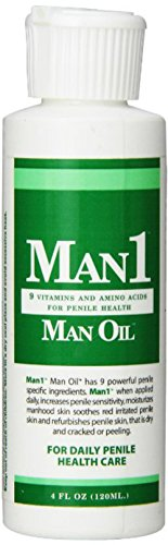 Man1 Man Oil Natural Penile Health Cream. 3-month supply. M.B. Guarantee. Treat dry, red, cracked or peeling penile skin and increase penile sensitivity.