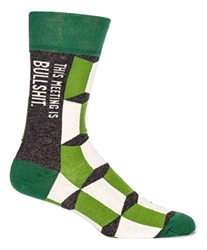 Blue Q Socks  Mens Crew  This Meeting Is Bulls  T Size 7 12