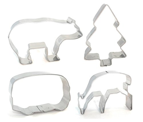(Camping Wildlife Mountain Cookie Cutter - American Confections - RV, Bear, Tree, Deer - Set of 4)