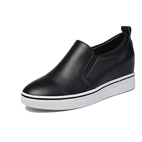 Negro Zapatos Realce Cuero Invisible Damas Zapatillas Cordones Nuevo Informales black Calzado De Calzados Sin Yan 37 2019 Mujer Mocasines Y Blanco xqZTFWw6