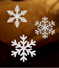 Amazoncom Mixed White Snowflakes Window Clings Glueless Window - Snowflake window stickers amazon