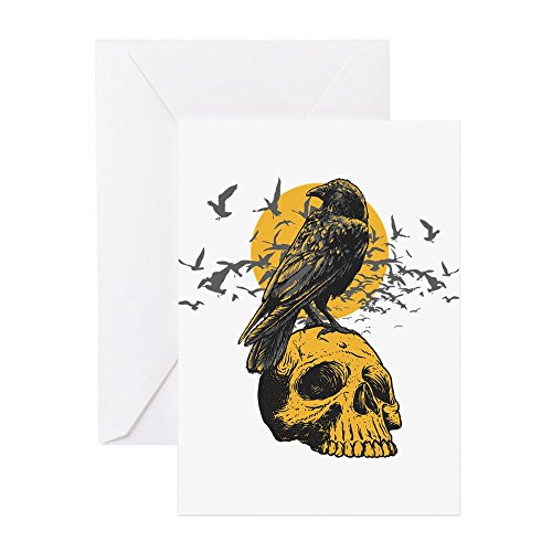 CafePress Skull And Crow Greeting Card, Note Card, Birthday Card, Blank Inside Glossy
