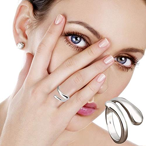 YOMXL Fashion Womens Girls Individual Double Round Head Ring Finger Opening Adjustable Women Rings Size for Valentine's Day Gift -
