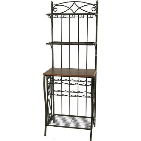 Wine Rack Walnut Antique (Metal Rack with Wine Storage, Antique Brass Finish Features a Rich Walnut Finish That Goes Well with Most Styles of Decor)