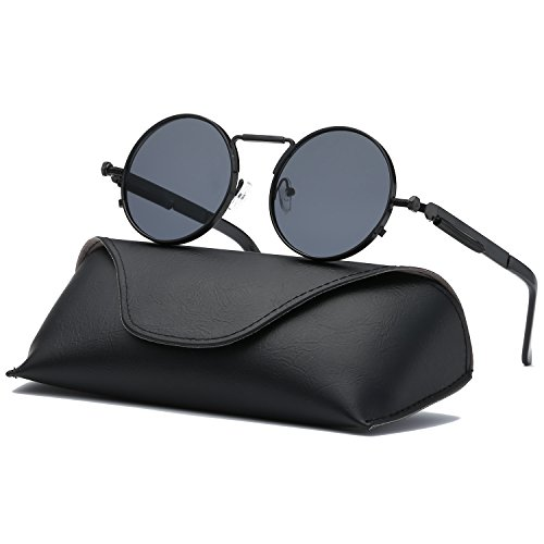 Ray Parker Gothic Round Metal Frame with Mirrored Lenses for Men Sunglasses RP6634 with Black Frame/Grey - Sunglasses Parker