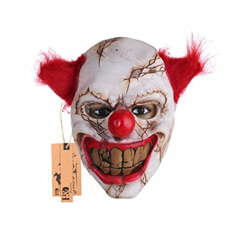 Red Dwarf Costumes Sale (Scary Clown Latex Mask Big Mouth Red Hair Nose Cosplay Full Face Horror Masquerade Adult Ghost Party Mask for Halloween Props)