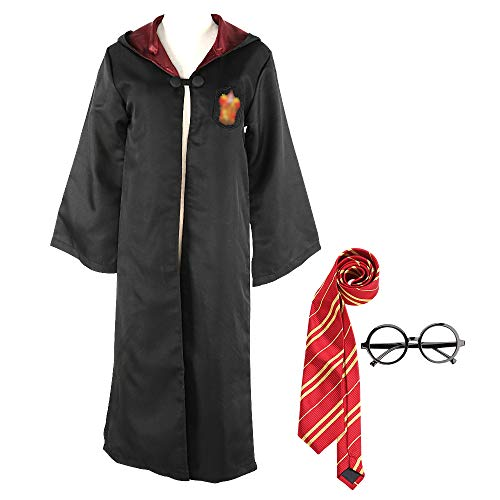 Yanhusu Harry Robe Cloak Potter Cosplay Costume Unisex Kid Child Adult Halloween(Adult XL)]()