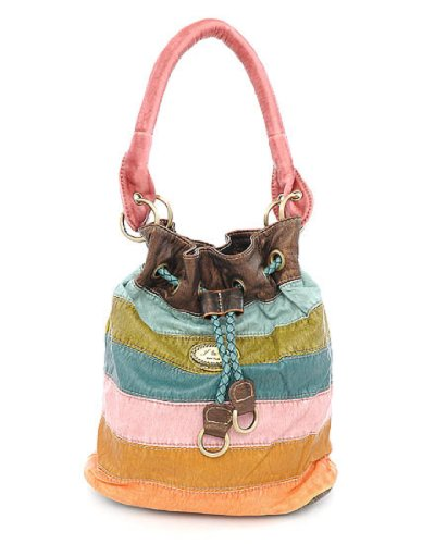 J and E New York Stripe Handbag for Teens and Women (S-9), Bags Central