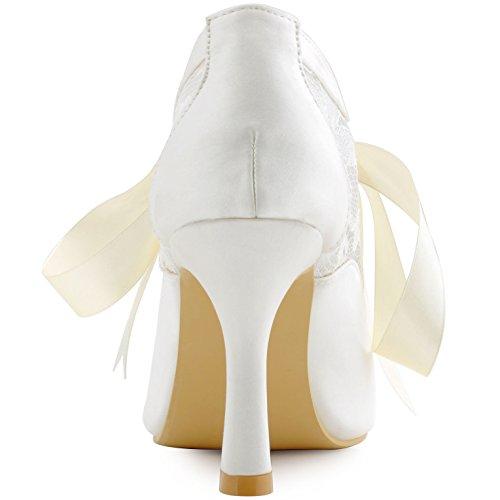 ElegantPark HC1529 Mujer Punta Chiusa Cintas Tie Pumps Cintas Tie Lace Heigh Tacon boda Fiesta zapatos Ivoire