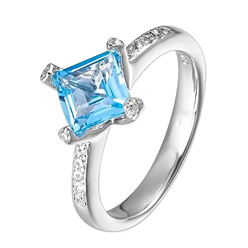 Carleen Sterling Silver 1.67 Carats Swiss Blue Topaz Ring Engagement Rings for Women Wedding Rings for Girls, Size 8