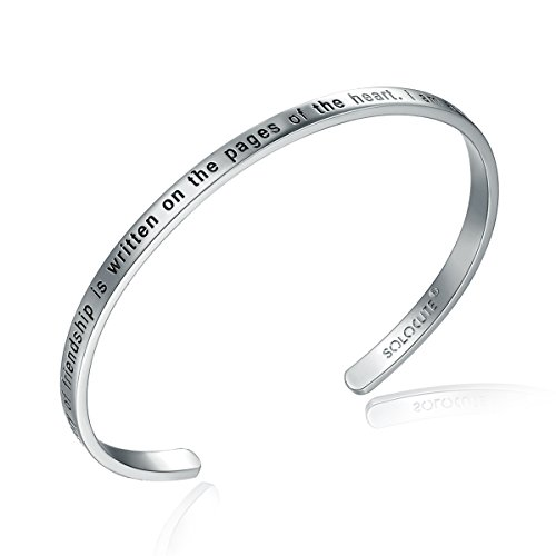 SOLOCUTE Sterling Silver Bangle Bracelet Engraved