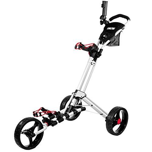 Biltek Premium 3-Wheel Golf Push Cart Trolley White Umbrella Scorecard Holder