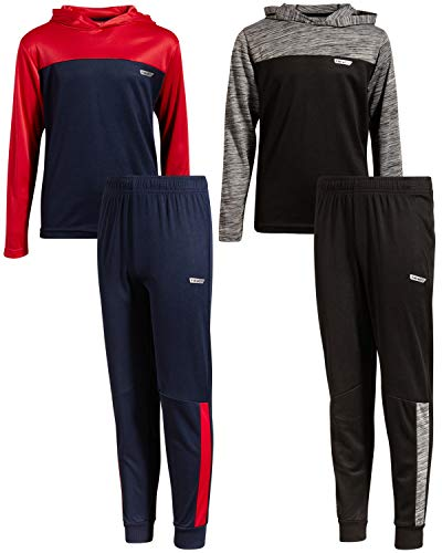 Hind Boys (4-Piece) Performance T-Shirt and Active Pant Sets (2 Full Sets) (Red/Grey with Hood, 5/6)'