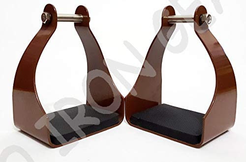 PRO IRON GEAR Aluminum Western Horse Endurance Riding Trail Brown Stirrups
