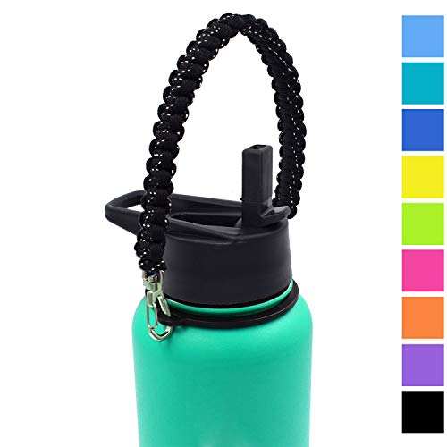 Flaskars Paracord Handle for Hydro Wide Mouth 12oz - 64 oz Sport Water Bottle Strap Carrier (Black Speckled)
