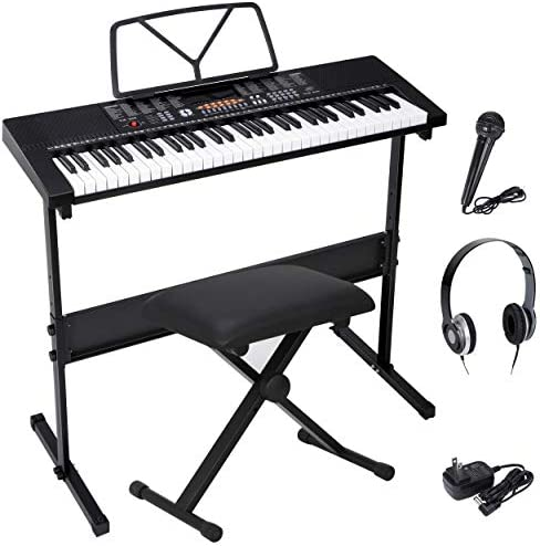 ZENY 61-Key Portable Keyboard with Built In Speakers, LED Screen, Headphones, Microphone, Piano Stand, Music Sheet Stand and Stool