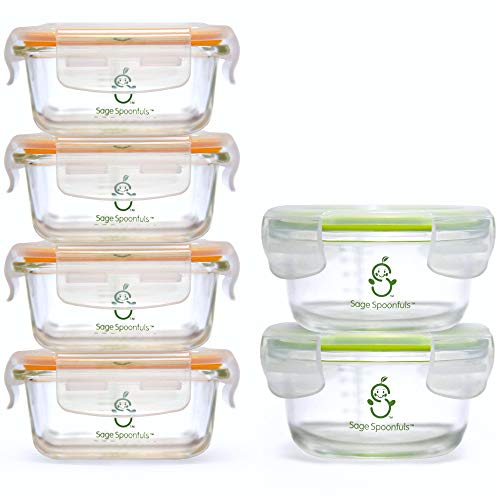 Sage Spoonfuls Tough Glass Combo Set Baby Food Storage - Combo Container