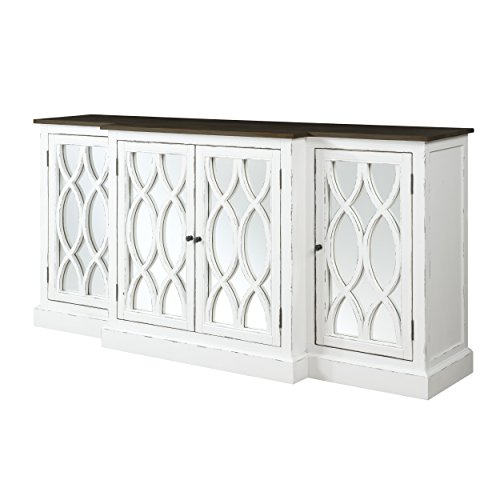 Emerald Home Mountain Retreat Dark Mocha and Antique White Buffet with Seven Hidden Drawers, Plank Style Top, And Mirror Detailing by Emerald Home Furnishings