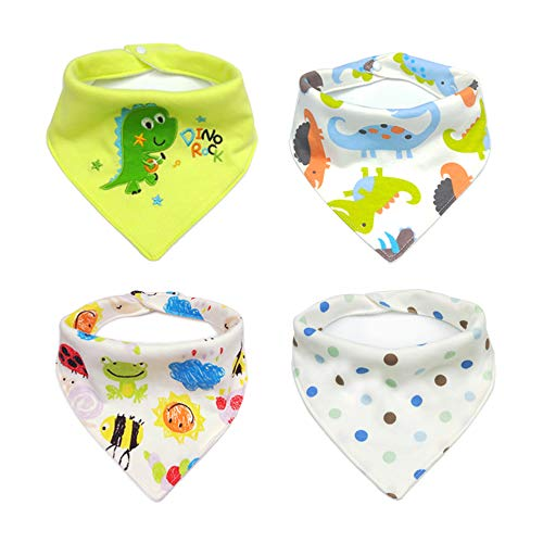 BLEBRDME 4 Pack Funny Dinosaur Style Pet Dog Cat Signature Puppy Bandana Triangle Scarf Bibs with Soft Cotton Material for Puppy Accessories