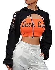 Vrouwen Ultra-Korte Hooded Pullover Tops Y2k Lange Mouw Sexy Uitsparing Trekkoord Cropped Hoodies Sweatshirt Streetwear, Zwart, M