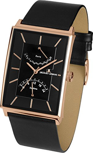 Jacques Lemans Men's Classic York Black Leather Band Rose Gold Plated Case Quartz Analog Watch 1-1835B