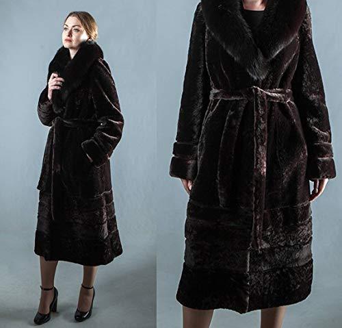 Real Sheepskin Fur Dark Brown Belted Coat with Fox Fur Collar, Mouton fur Coat Sheepskin Fur Coat Brown Fur Coat Luxury Fur Coat Women Large