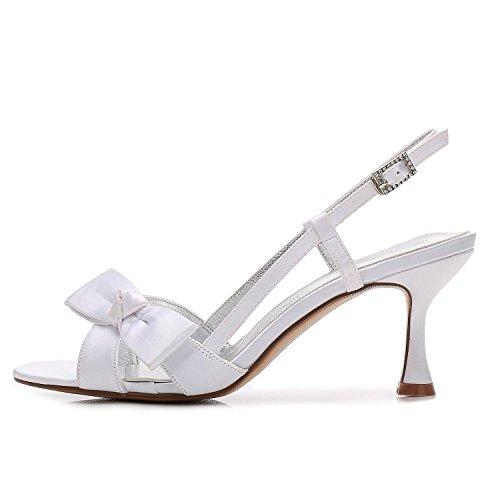 L@YC Frauen Peep Toe E17061-19 Bänder Satin Low Heels Brautjungfer Hochzeit Braut Court Schuhe Blue